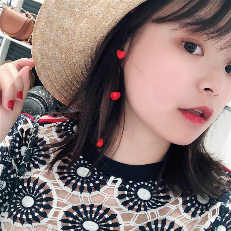 韩国度假旅游可爱心形桃心珍珠发梳头饰小清新隐形发夹发饰春夏天