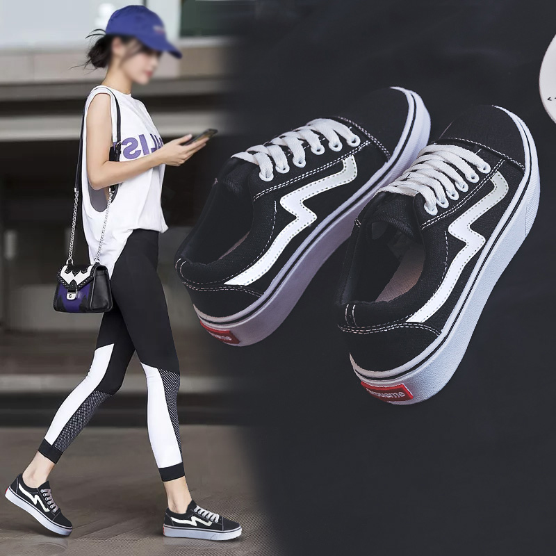 2020年春季新款帆布鞋女鞋韩版百搭黑色布鞋2019学生休闲小白板鞋