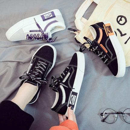 2019夏季新款小黑帆布女鞋韩版百搭学生黑色布鞋休闲潮鞋厚底板鞋