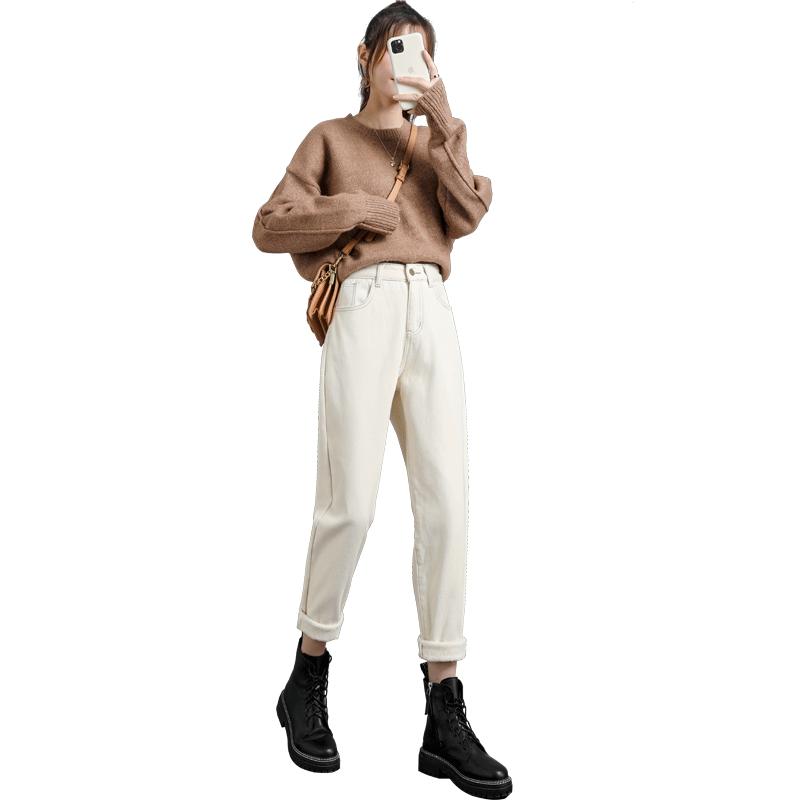 加绒加厚米白色2020年新款牛仔裤质量如何