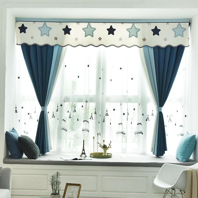 2020 new cotton linen childrens room shading curtain cloth Nordic style simple modern boy Mediterranean bay window short curtain