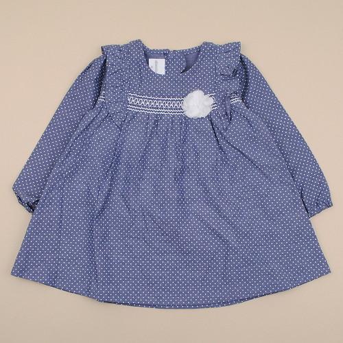 2018春秋韩国正品absorba代购点点蓝色连衣裙童装85-110