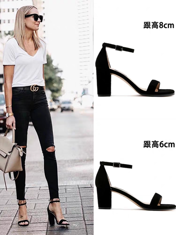 2021 new sandals womens summer one line buckle star same open toe leather black thick heel middle heel versatile womens shoes