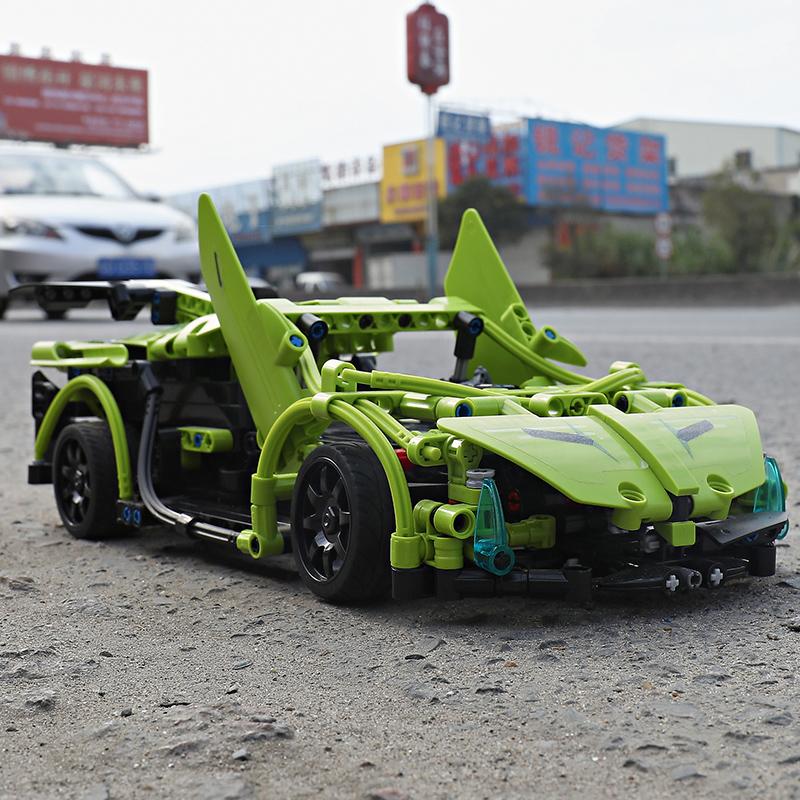 双鹰积木遥控汽车跑车赛车电子电动组装车男孩益智模型拼装玩具,可领取5元天猫优惠券