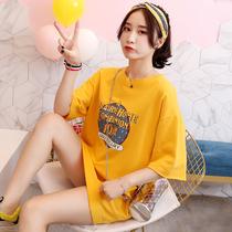 韩版特大码女装胖mm短袖t恤裙女夏装加肥宽松超大号胖妞显瘦上衣