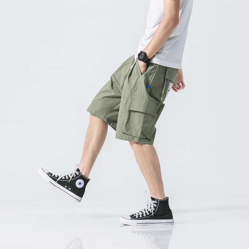 Red tide Club original summer style Japanese style Multi Pocket working shorts mens casual loose straight tube five point pants