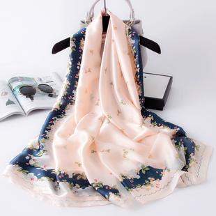 杭州丝绸丝巾女纱巾薄款春秋季冬季百搭秋款洋气时尚外搭披肩围巾品牌