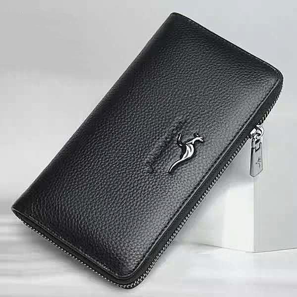 Sachi kangaroo leather handbag long zipper large capacity mens wallet youth leather multi-functional business trend