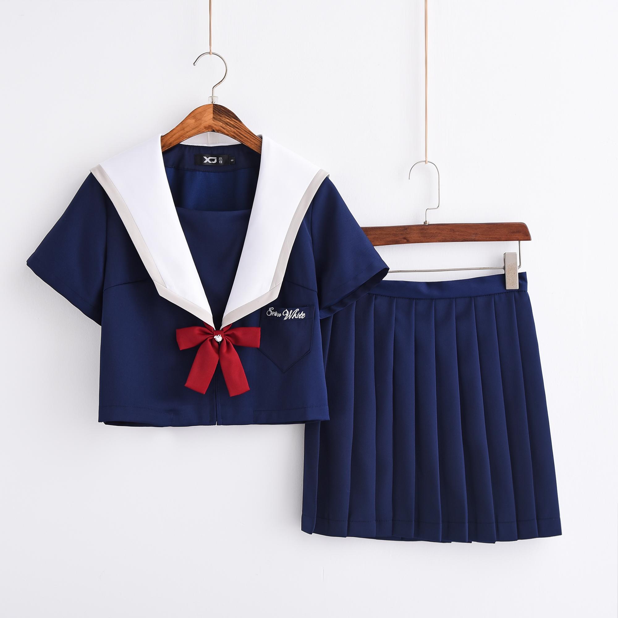 白雪姬正统日系短袖水手服jk制服软妹中间服班服秋季学院风套装