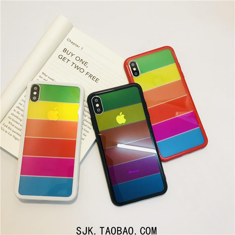 限1000张券个性小清新彩虹色苹果xs max手机壳