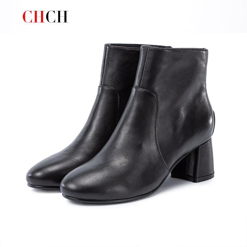 2020 autumn new leather Martin boots British style small short boots versatile casual pop-up small high-heeled Japanese womens shoes