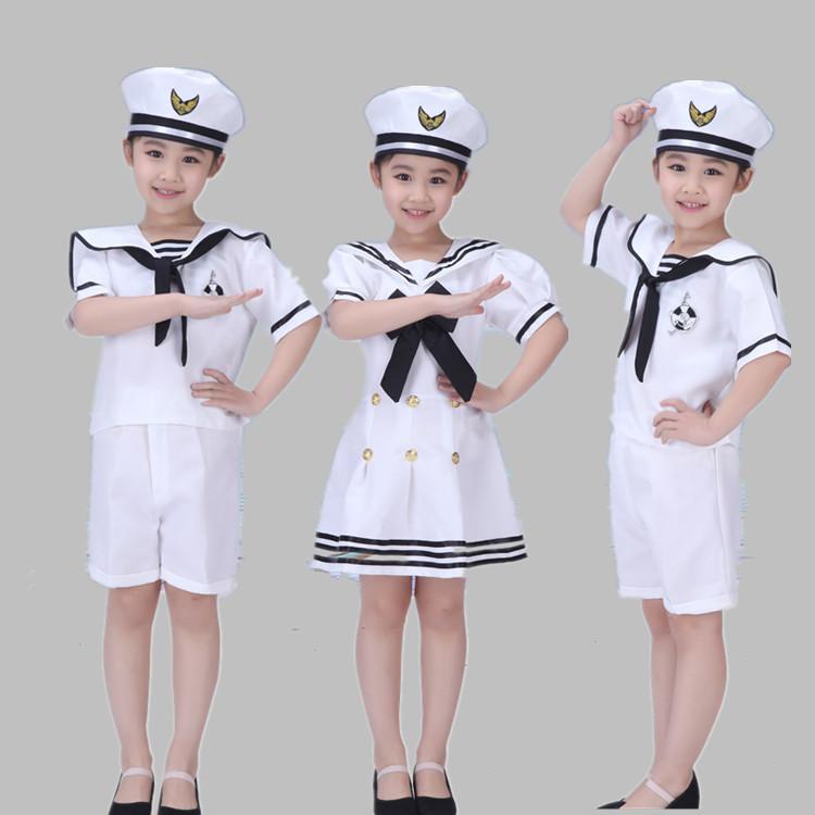 男女の子供服と子供服の公演服、海軍の合唱服、海軍の衣装、セーラー服、幼児のダンスショー服