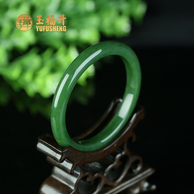 新疆天然和田玉手镯细条碧玉手镯精美时尚菠菜绿女款镯子带证书