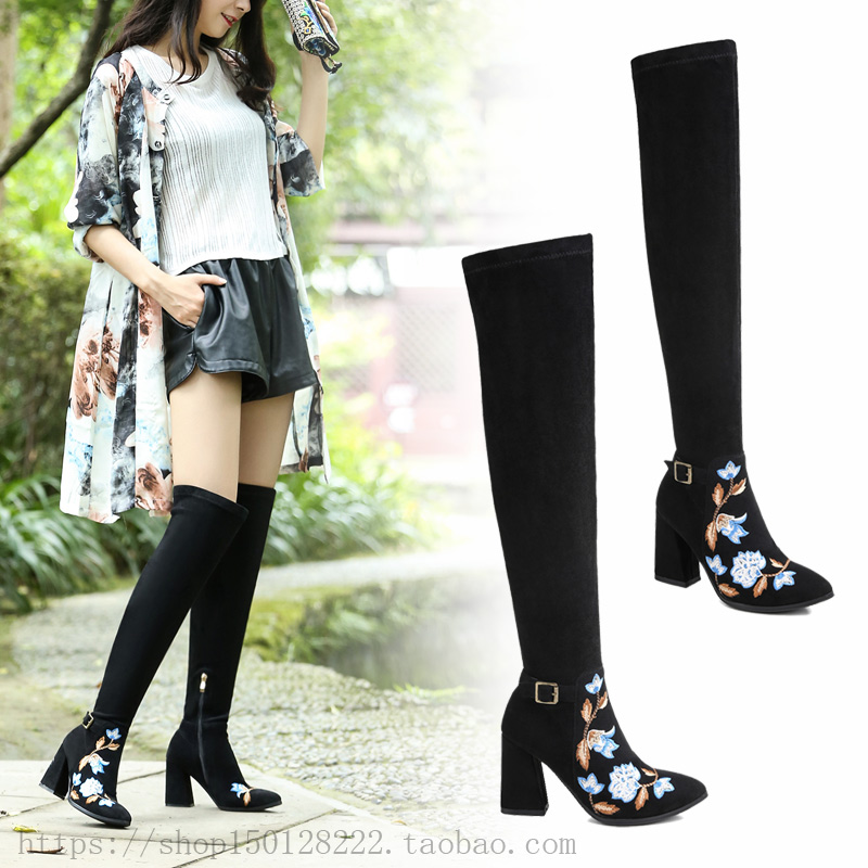 High heels, knee high boots, autumn and winter, new genuine belt buckle, frosted, retro national style, side zipper embroidered womens shoes