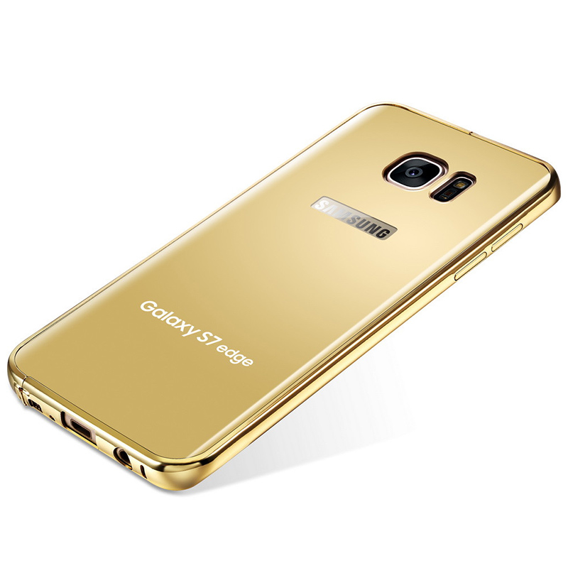 KXX Luxury Electroplate Stainless Steel Metal Bumper Acrylic Mirror Back Cover Case for Samsung Galaxy S7 Edge