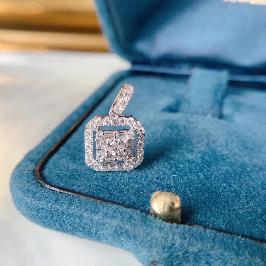 法时珠宝 梯方形钻石项链女18K白金真钻吊坠锁骨链正品网红同款