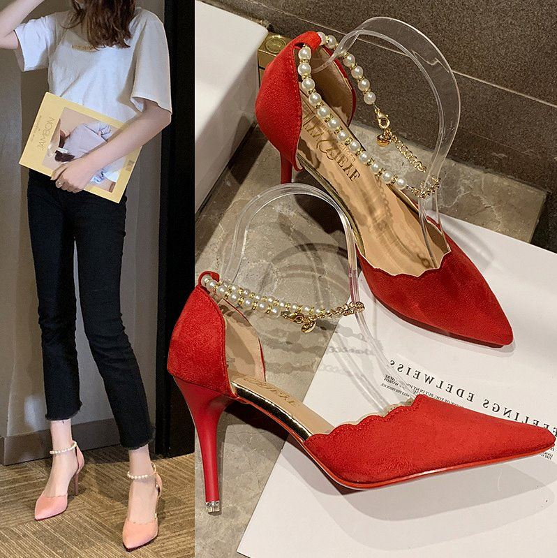2020 womens summer new Korean professional versatile creative light mouth pointed thin high heeled flannelette Beaded solid color high heeled shoes