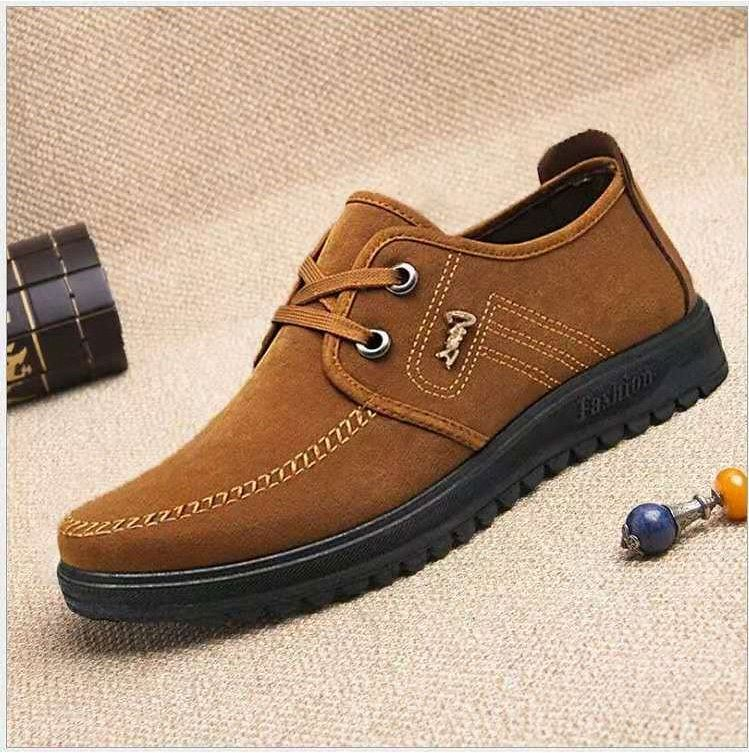 Autumn 2021 canvas mens casual single shoe front lace up tooling shoes solid low heel soft sole mens shoes fashion