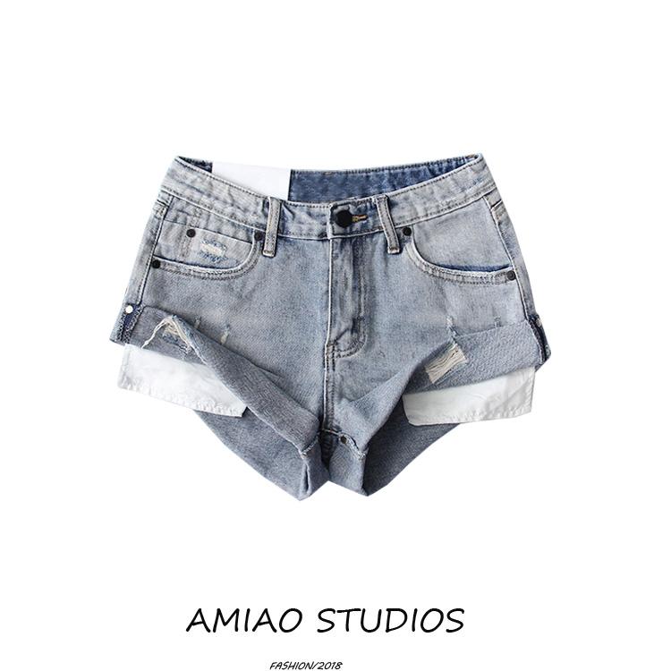 18夏季新款复古重工水洗做旧潮短裤满69.00元可用1元优惠券