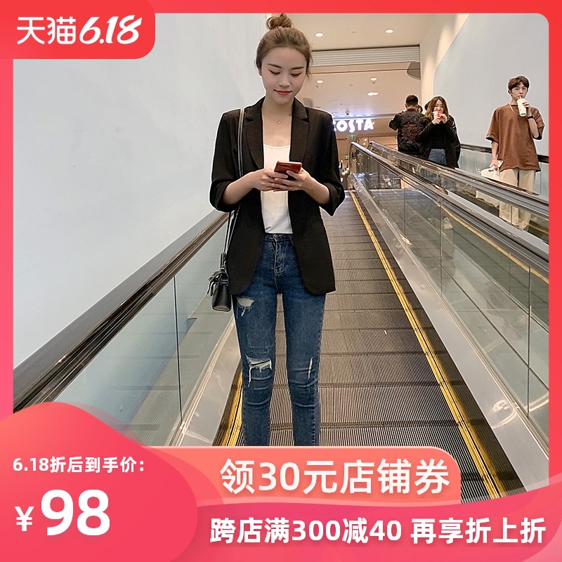 Net red small suit top 2020 spring and autumn Korean new short casual waistband chic black suit coat for women