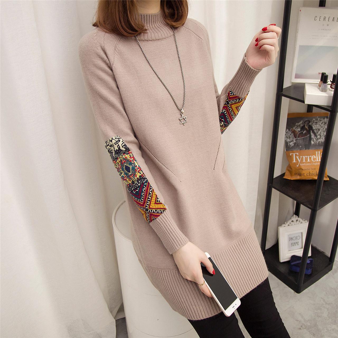 中长款民族风套头韩版宽松毛衣女装秋冬季新款半高领针织衫毛衣裙