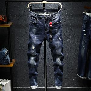夏季薄款青年男装破洞牛仔裤男潮牌修身长裤男士小脚裤子男小直筒