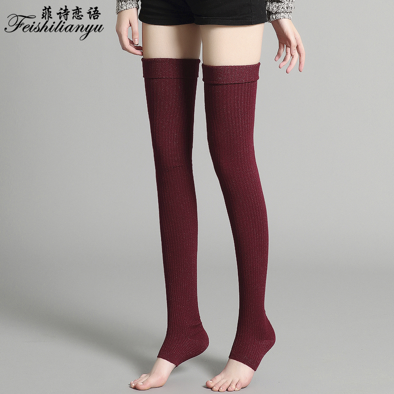Step on the foot stockings thin leg autumn and winter thickened leg protection knee socks female over knee high tube thigh cashmere long leg