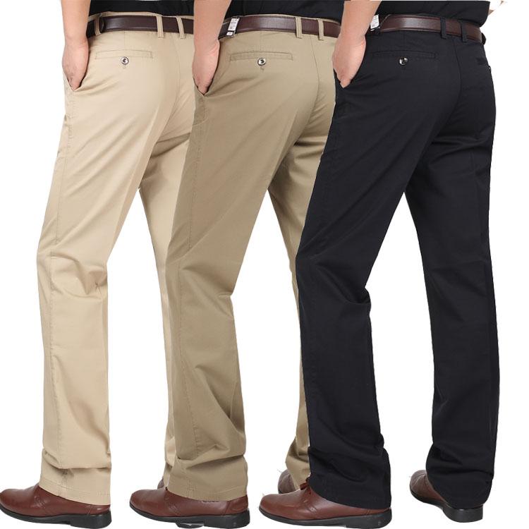 中年男士休闲裤宽松直筒春夏季薄款高腰长裤加肥加大码纯棉男裤子