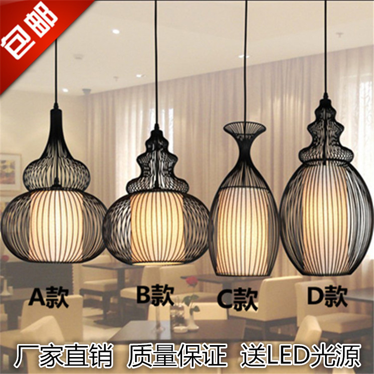 大贵族铁艺葫芦美式乡村创意客餐厅火锅咖啡厅复古工程鸟笼吊灯