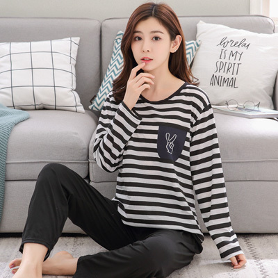 韩版パジャマはかわいいです。日系は甘いです。长袖は肥加肥です。