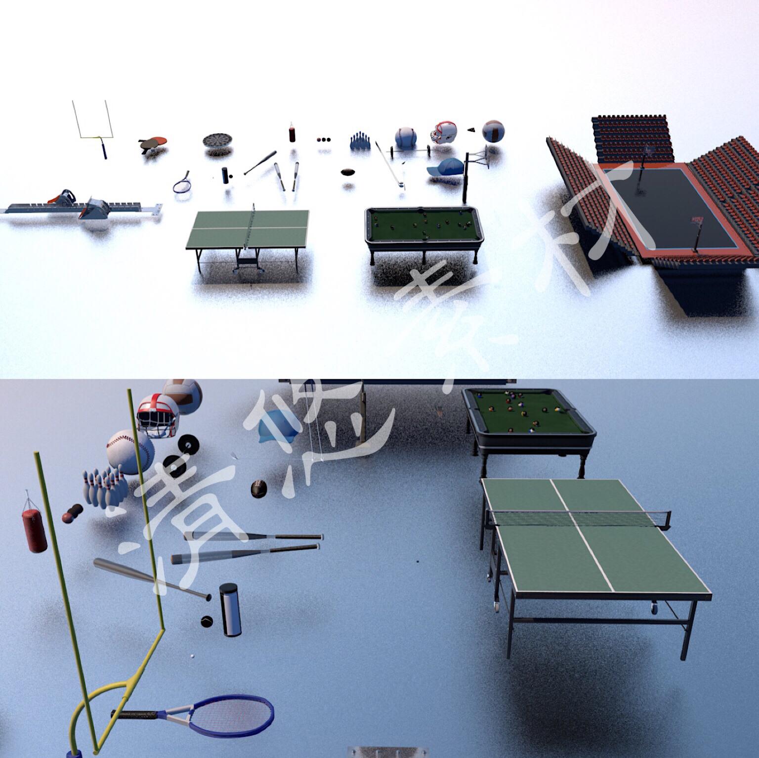 c4d体育用品模型基础材质 篮球场 台球桌 保龄球 乒乓球桌素材139