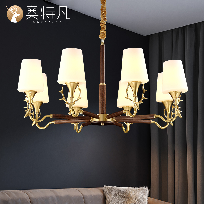 [North American black walnut] chandelier living room lamp Nordic solid wood new hall lamp antler led bedroom dining room lamp