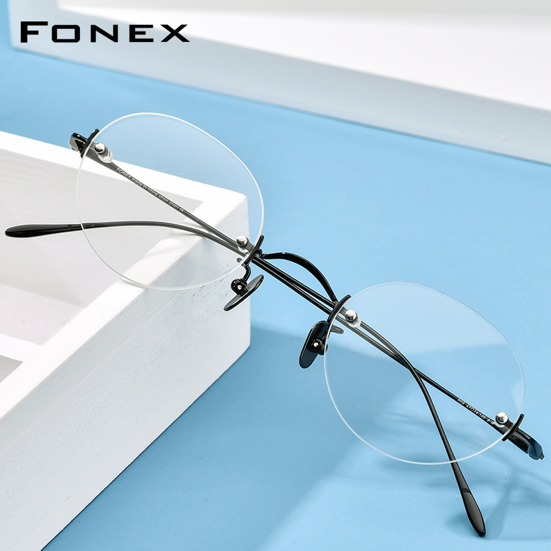 Chinese lens fonex ultra light pure B titanium frameless spectacle frame for women retro literature round gold wire frame for men can be matched with myopia film