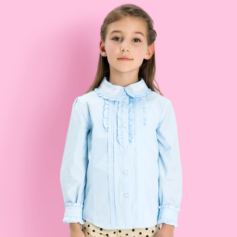 Childrens shirt spring summer Girls Cotton Shirt British fake placket lace round neck long sleeve shirt childrens wear