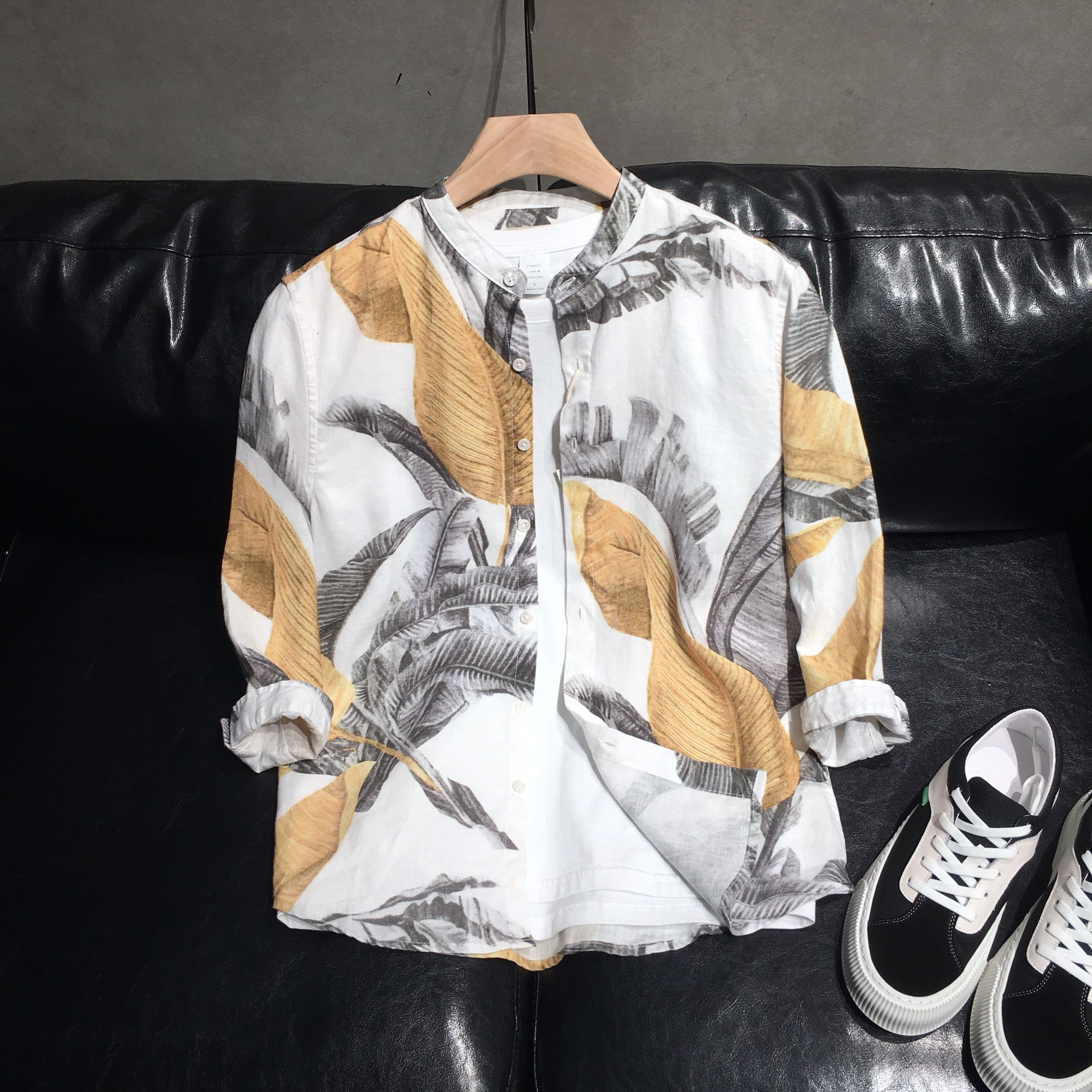 Single Homme original mens creative printed linen Quarter Sleeve Shirt 2021 summer new casual and breathable fashion