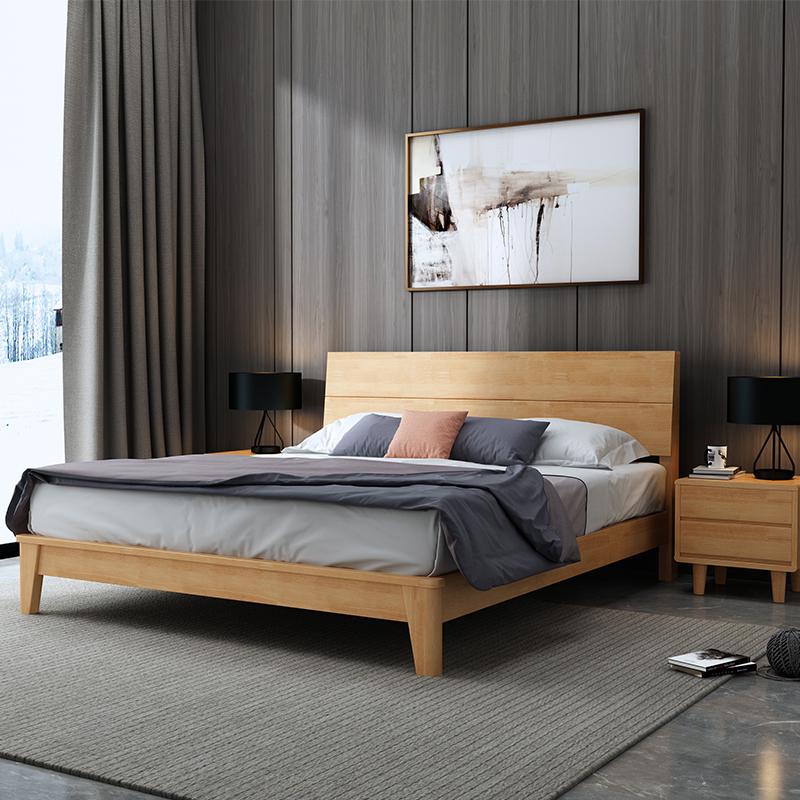 日式橡胶木床1.8米1.5米现代简约主卧家具北欧纯全实木双人床单人