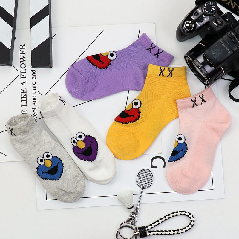 儿童袜子纯棉网眼男童女童芝麻街夏季薄款宝宝透气短筒中大童棉袜