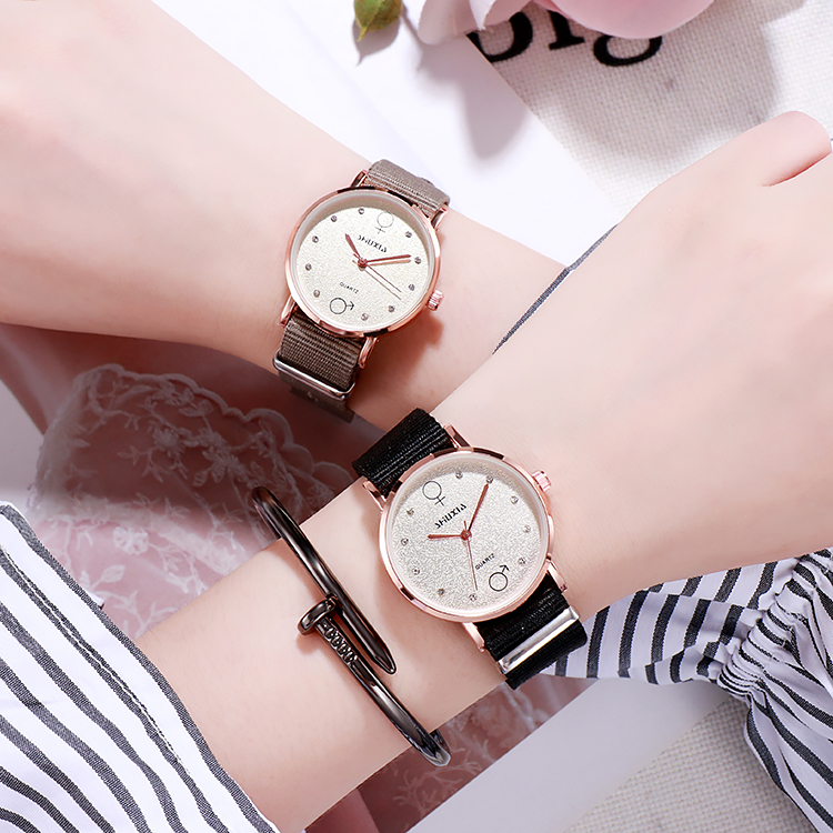 Canvas watch female student male student small dial canvas belt ins style literature and art simple minority watch female light luxury