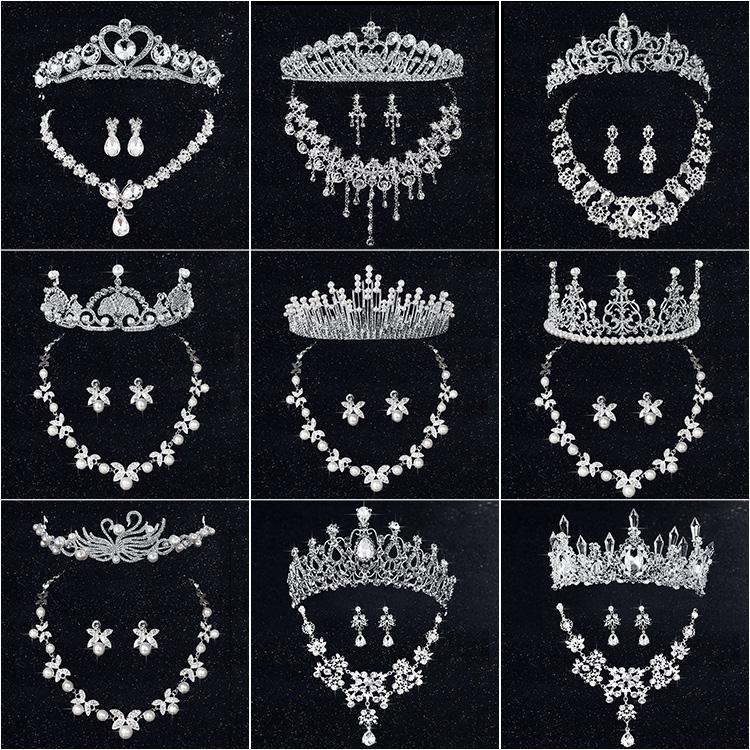 新娘皇冠三件套装婚纱饰品头饰结婚礼首饰项链耳环婚庆配饰韩式