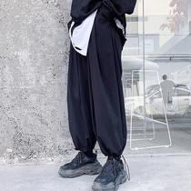 @安初七 山本暗黑秋季宽松阔腿束脚裤九分裤潮男装个性运动灯笼裤