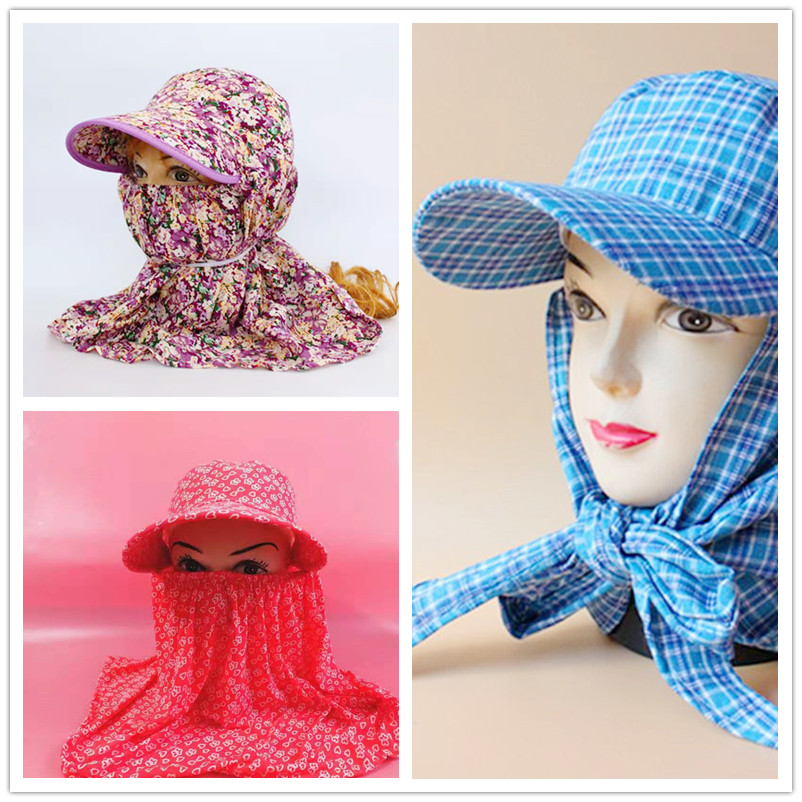 Mens and womens hats, work in the field, cotton cloth integrated, long eaves, sun shading, neck covering, face covering, ventilating, tea picking, dust prevention and sun protection