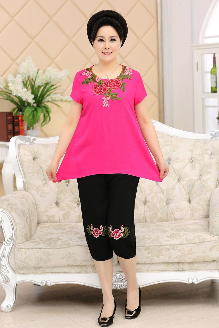 加肥加大码中老年女装胖太太夏装棉麻套装胖妈妈两件套200斤裤装
