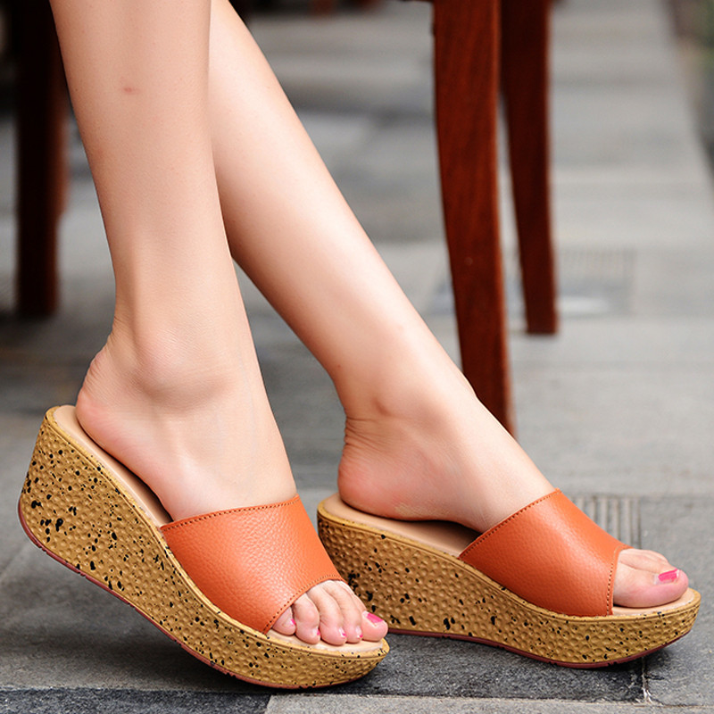 Leather sandals, womens white breathable sandals, muffins, thick soles, sandals, fashionable slope heels, cow leather shoes