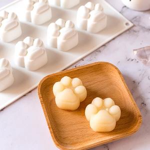 8连猫爪慕斯蛋糕模具硅胶果冻布丁巧克力糖果卡通手工皂烘焙磨具