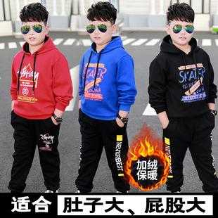胖童裝男童套裝新款15中大童男孩寬鬆連帽衞衣加肥加大春秋裝加絨