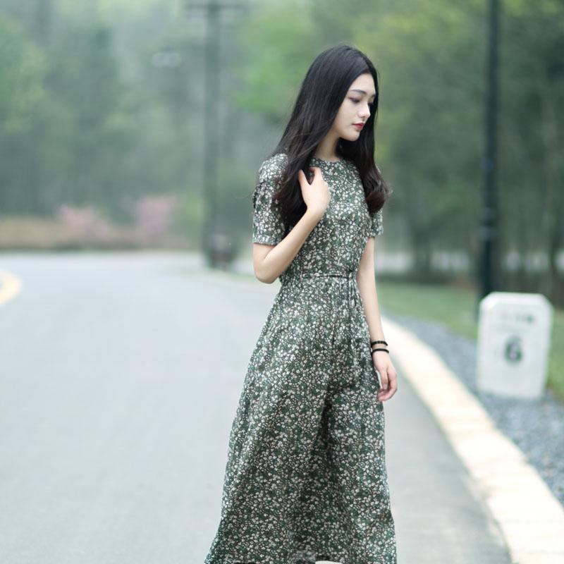 文艺小清新小碎花连衣裙棉中长款显瘦宽松腰复古短袖棉麻长裙夏季