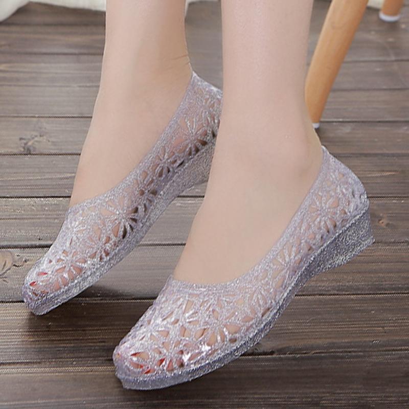 2021新夏女凉鞋镂空塑料胶水晶鞋包头网状鸟巢洞洞鞋平底沙滩雨鞋