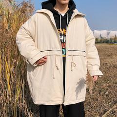 2018冬季男士休闲宽松立领中长款棉衣外套纯棉学生棉服 H206/145