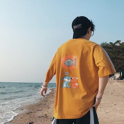 2018夏季新款青年男式圆领插肩袖拼色印花短袖宽松情侣T恤 892/38