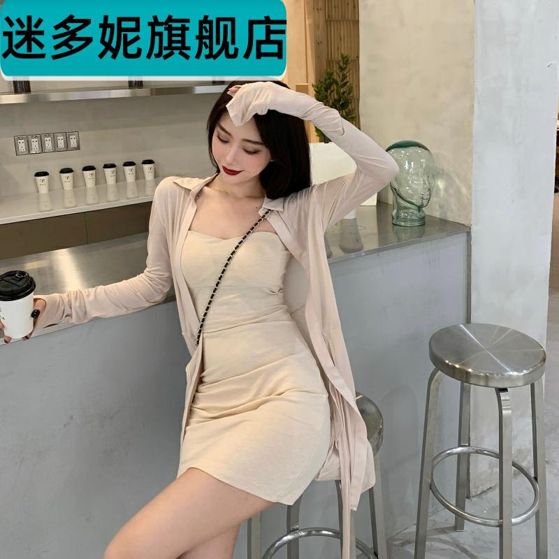 性感抹胸裙修身包臀连衣裙+不规则绑带防晒开衫衬衫外套显瘦时尚